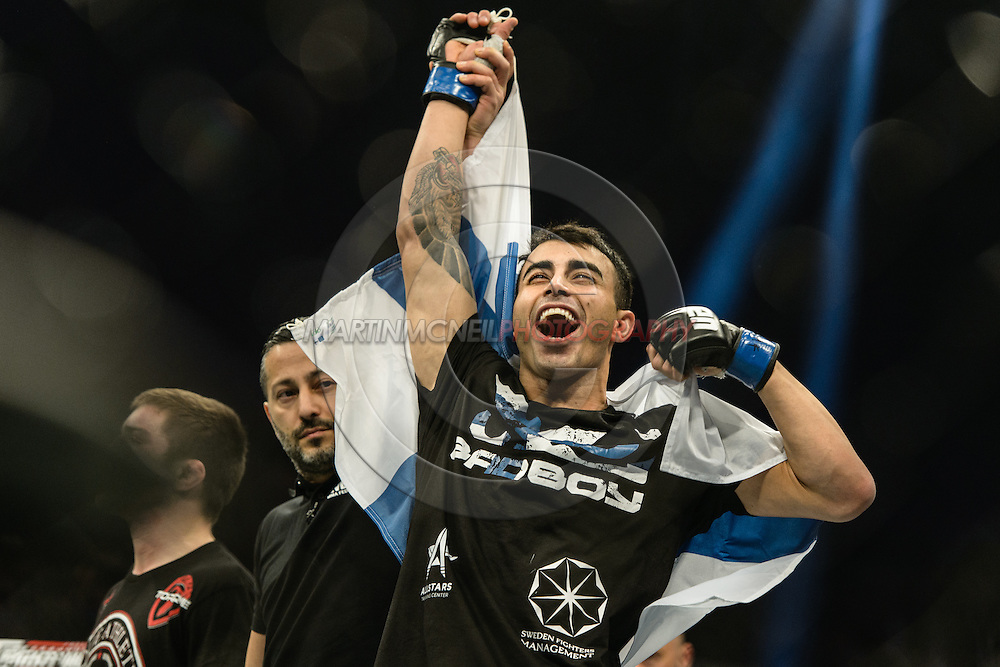 "STOCKHOLM, SWEDEN, JANUARY 24, 2015: Makwan Amirkhani during ""UFC on Fox 14: Gustafsson vs. Johnson"" inside Tele2 Arena in Stockholm, Sweden"