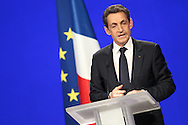 MARSEILLE, FRANCE - FEBRUARY 19:  French President Nicolas Sarkozy speaks during the UMP presidential support meeting on February 19, 2012 in Marseille, France. Sarkozy, the UMP candidate concluded his speech by making an appeal to his supporters saying, 'Help me succeed for France'.  (Photo by Tony Barson/Getty Images)