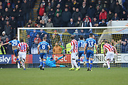 29 Ollie Norburn scores a penalty for Shrewsbury Town  during the The FA Cup 3rd round match between Shrewsbury Town and Stoke City at Greenhous Meadow, Shrewsbury, England on 5 January 2019.