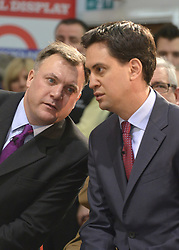 © Licensed to London News Pictures. 27/11/2012. Stevenage, UK ED BALLS (left) talks to ED MILIBAND. Ed Miliband MP, Leader of the Labour Party and Ed Balls MP, Labours Shadow Chancellor hold a joint question and answer session at Propak Sheet Metal LTD in Stevenage, today 27th November 2012, ahead of the Autumn Statement. Photo credit : Stephen Simpson/LNP