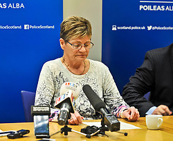 Pictured: Julie Reilly's mother Margaret Hanlon reads a family statement during the press conference.<br /> <br /> Police held a press conference to appeal for help in tracing missing Glasgow woman Julie Reilly, who went missing on 06 February 2018.<br /> <br /> &copy; Dave Johnston / EEm