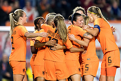 Netherlands celebrate the goal of Shanice van de Sanden of the Netherlands women during the FIFA Women's World Cup 2019 play off first leg qualifying match between The Netherlands and Denmark at the Rat Verlegh stadium on October 05, 2018 in Breda, The Netherlands