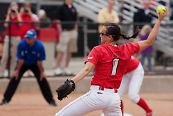 15 April 2012:  Jordan Birch makes a pitch during an NCAA women's softball game between the Drake Bulldogs and the Illinois State Redbirds on Marian Kneer Field in Normal IL