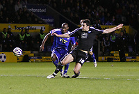 Photo: Steve Bond/Richard Lane Photography. Leicester City v Peterborough United. Coca-Cola Football League One. 20/12/2008. Chris Whelpdale (R) gets his foot in as George Boyd (L) goes for goal
