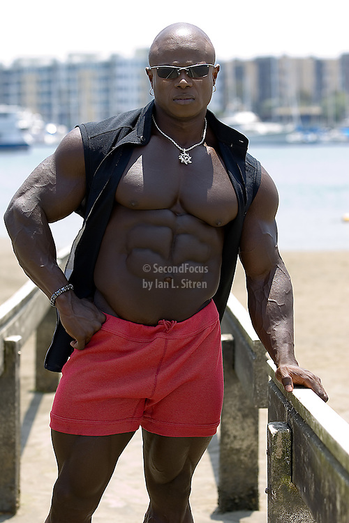 Bodybuilder Sean Jones photo shoot following his win at Muscle Beach.