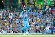 Kuldeep Yadav appeals. T20 international, Australia v India. Sydney Cricket Ground, NSW, Australia, 25 November 2018. Copyright Image: David Neilson / www.photosport.nz
