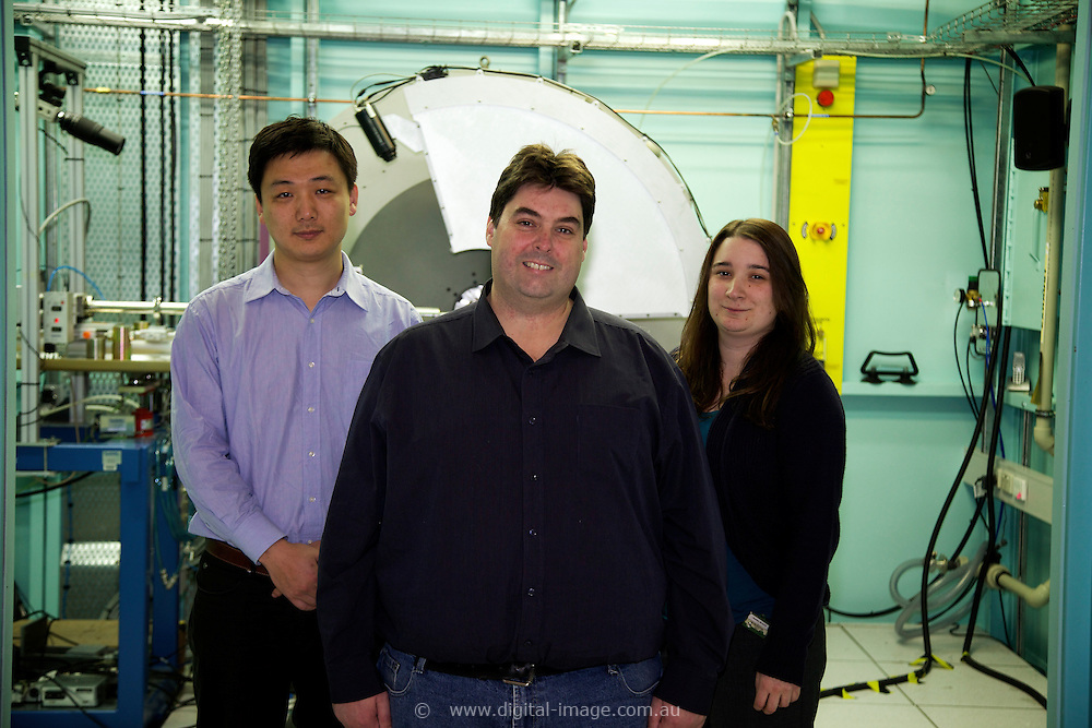 The Powder Diffraction team at the Australian Synchrotron.<br /> Dr Justin Kimpton, Principal Scientist - Powder Diffraction;<br /> Dr Qinfen Gu, scientist - Powder Diffraction;<br /> Dr Helen Brand, Scientist - Powder Diffraction;