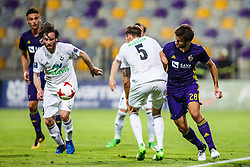 Mitja Viler #28 of NK Maribor and Bergsveinn Olafsson #5 of FH Hafnarfjirdur  during 1st Leg football match between NK Maribor (SLO) and FH Hafnarfjordur (ISL) in Third qualifying round of UEFA Champions League 2017/18, July 26, 2017, in Stadium Ljudski vrt, Maribor, Slovenia. Photo by Grega Valancic / Sportida