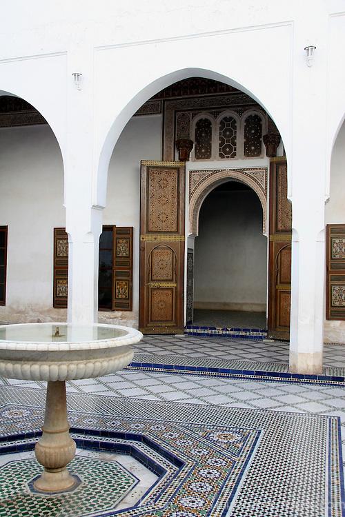 North Africa, Morocco, Marrakesh.  The El Bahia Palace in Marrakesh.