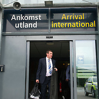 Rosenborg v St Johnstone....17.07.13  UEFA Europa League Qualifier.<br /> St Johnstone manager Tommy Wright arrives at Trondheim airport<br /> Picture by Graeme Hart.<br /> Copyright Perthshire Picture Agency<br /> Tel: 01738 623350  Mobile: 07990 594431