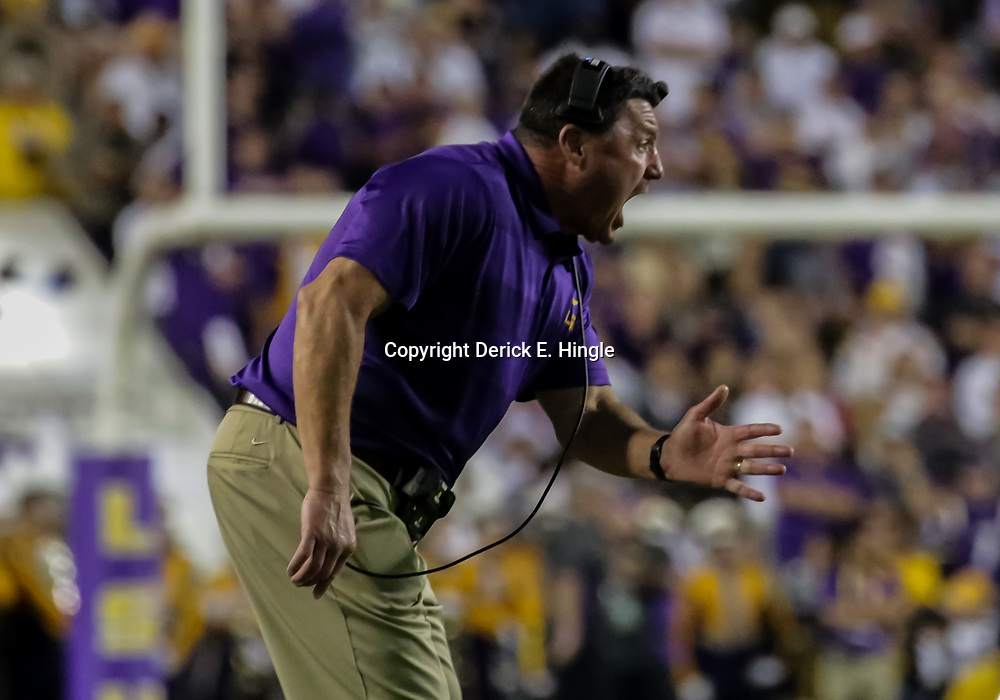 Nov 3, 2018; Baton Rouge, LA, USA; LSU Tigers head coach Ed Orgeron reacts on the sideline during the second quarter against the Alabama Crimson Tide at Tiger Stadium. Mandatory Credit: Derick E. Hingle-USA TODAY Sports