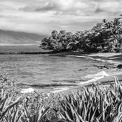 Maui Hawaii Ulua Beach black and white panorama photo in Wailea Makena with Maalaea Bay along the Pacific Ocean. Panoramic photo ratio is 1:3. Copyright ⓒ 2019 Paul Velgos with All Rights Reserved.