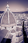 The Duomo dome and rooftops from Giotto's Bell Tower (Campanile di Giotto), Florence, Tuscany, Italy