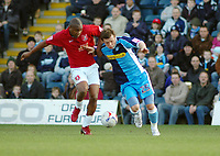 Photo: Kevin Poolman.<br />Wycombe Wanderers v Walsall. Coca Cola League 2. 17/03/2007. Hector Sam of Walsall (left) and Sam Stockley of Wycombe fight over the ball.