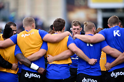 Stuart Hooper of Bath Rugby speaks to his team-mates during the pre-match warm-up - Mandatory byline: Patrick Khachfe/JMP - 07966 386802 - 17/10/2015 - RUGBY UNION - The Recreation Ground - Bath, England - Bath Rugby v Exeter Chiefs - Aviva Premiership.