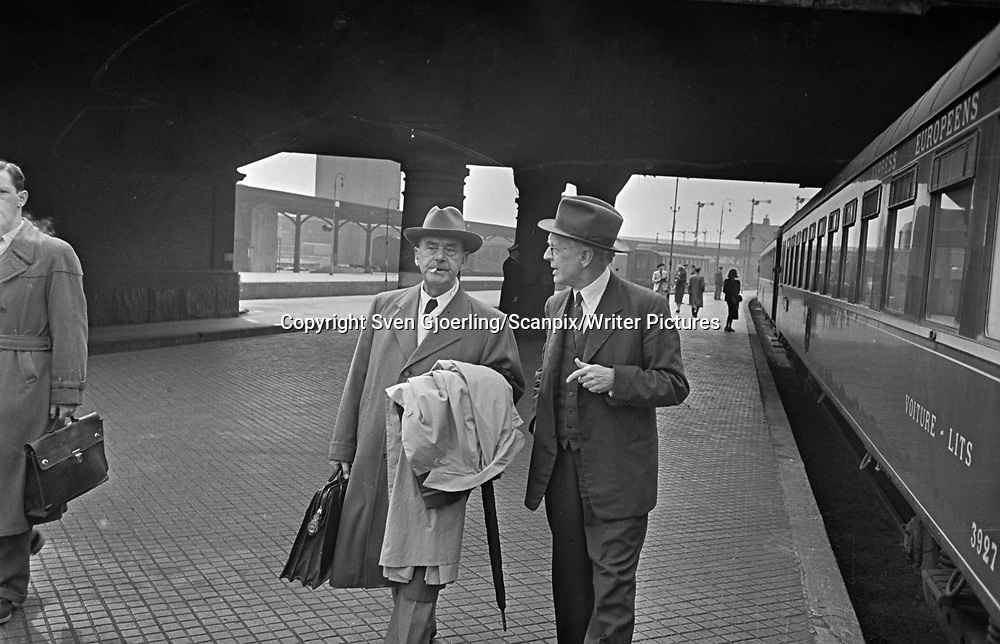 Thomas Mann, German author, at Central Station in Copenhagen <br /> Picture by Sven Gjoerling/Scanpix/Writer Pictures<br /> <br /> WORLD RIGHTS - DIRECT SALES ONLY - NO AGENCY