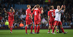 BIRMINGHAM, ENGLAND - Monday, October 13, 2008: Wales' players feel dejected after going out against England during the UEFA European Under-21 Championship Play-Off 2nd Leg match at Villa Park. (Photo by Gareth Davies)