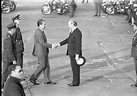 American President Richard Nixon arriving in Dublin Airport, Greeted By An Taoiseach Mr Jack Lynch, circa October 1970 (Part of the Independent Newspapers Ireland/NLI Collection).