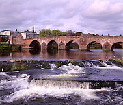 The River Nithe and the old bridge in Dumfries, Dumfrieshire.