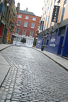 Cobblestoned street in Temple Bar, Dublin, Ireland