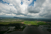 Aerial view over tanks, forest and paddy lands. Mountain in distance is Gunners Quoin or Thoppigala.