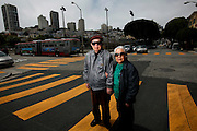 Jian Zhong Li, 92, and his wife Lew Ching Gee Li, 89, are photographed on their block in the North Beach neighborhood in San Francisco, Calif., on Thursday, June 5, 2014.  The Li's had to fight an eviction notice after the building they have lived in since 1981 was sold to new owners.  The Li's immigrated from China in 1980.