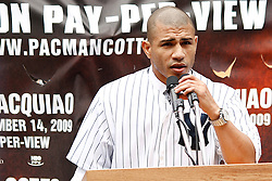 September 10, 2009; Bronx, NY; USA; Miguel Cotto speaks at the press conference at Yankee Stadium announcing November 14, 2009 fight against Manny Pacquiao.  The two will meet at the MGM Grand Garden Arena in Las Vegas, NV.