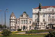 Astoria Hotel, Banco De Portugal and the statue to Joaquim Antonio de Aguiar in Largo da Portagem, Coimbra, Portugal.