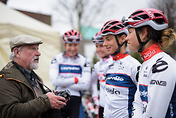 Gabrielle Pilote Fortin chats to an autograph hunter at Pajot Hills Classic 2017. A 121 km road race on March 29th 2017 in Gooik, Belgium. (Photo by Sean Robinson/Velofocus)