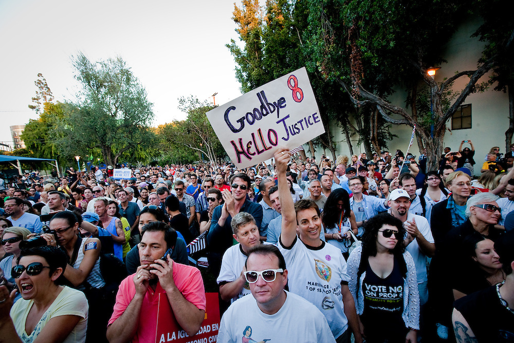 Supporters of Gay Marriage gathers at a rally after Prop. 8 was proved to be unconstitutional and overturned by Judge Walker.