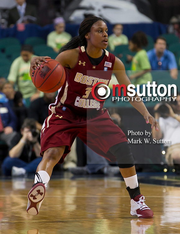 during the 1st round game between Virginia and Boston College in the 2012 ACC Women's Basketball Tournament in Greensboro, North Carolina.  Virginia won 72 - 41.  March 01, 2012  (Photo by Mark W. Sutton)