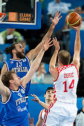 Luka Zoric #14 of Croatia shoots against Luigi Datome #13 of Italy and Nicolo Melli #9 of Italy during basketball match between national team of Croatia and Italy of Eurobasket 2013 on September 14, 2013 in SRC Stozice, Ljubljana, Slovenia. (Photo By Matic Klansek Velej / Sportida.com)