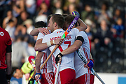 England celebrate Barry Middleton's goal. England v China - Hockey World League Semi Final, Lee Valley Hockey and Tennis Centre, London, United Kingdom on 15 June 2017. Photo: Simon Parker