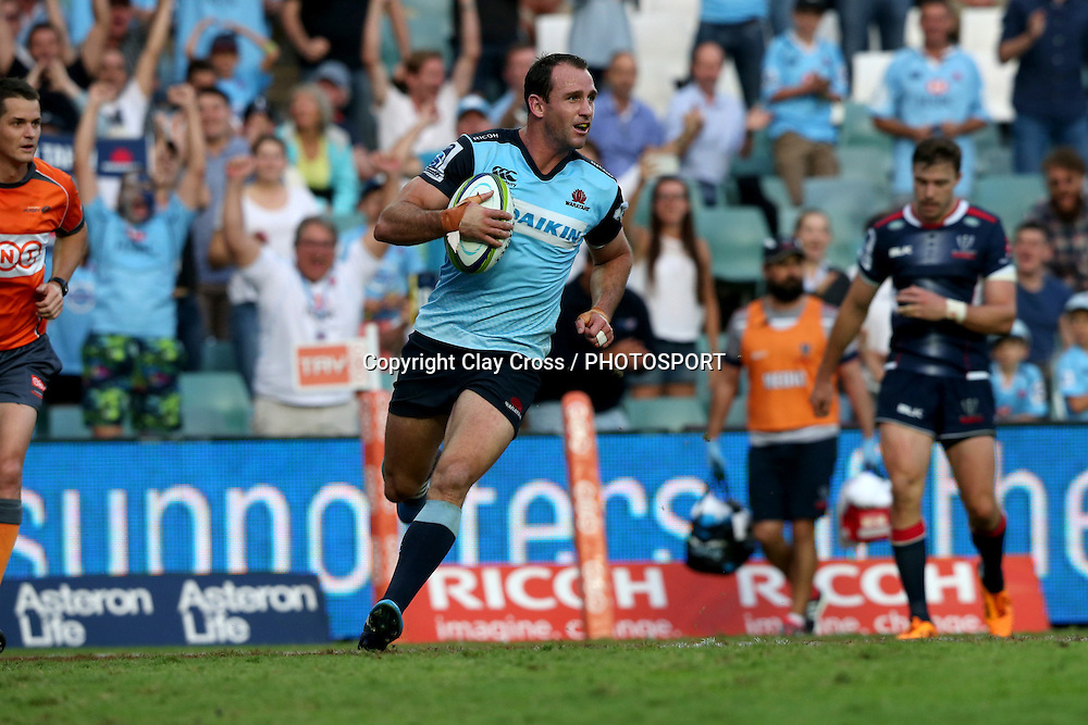 Matt Carraro goes over to score a try. Waratahs v Rebels, Super Rugby Round 6. Played at Allianz Stadium, Sydney Australia on Sunday 3 April 2016. Copyright Photo: Clay Cross / photosport.nz