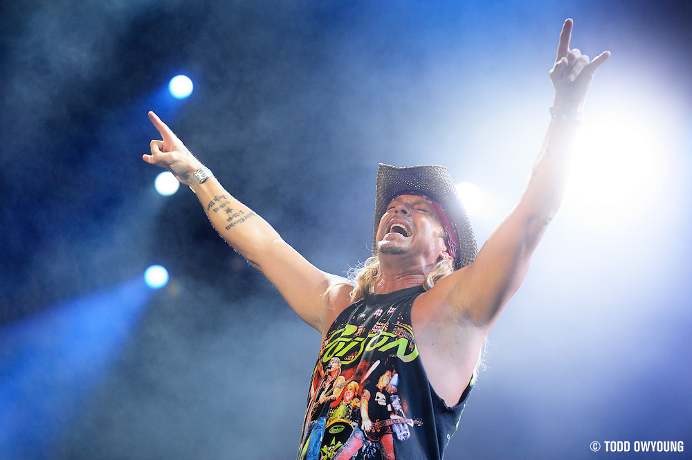 Brett Michaels of the band Poison performing at the Verizon Wireless Amphitheater in St. Louis on July 6, 2011.