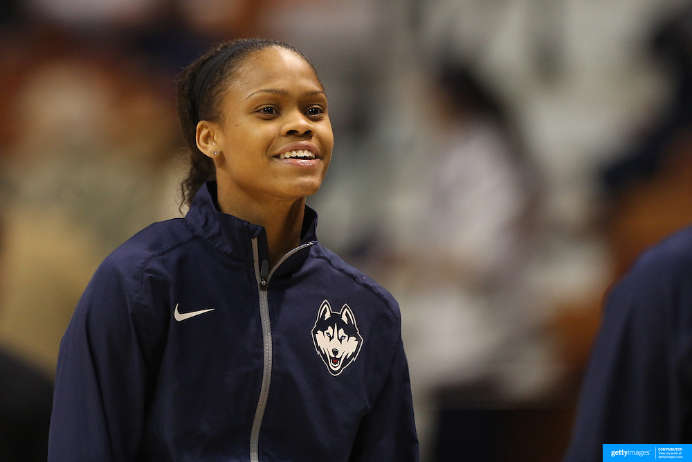 Moriah Jefferson, UConn, during warm up before the UConn Huskies Vs USF Bulls Basketball Final game at the American Athletic Conference Women's College Basketball Championships 2015 at Mohegan Sun Arena, Uncasville, Connecticut, USA. 9th March 2015. Photo Tim Clayton