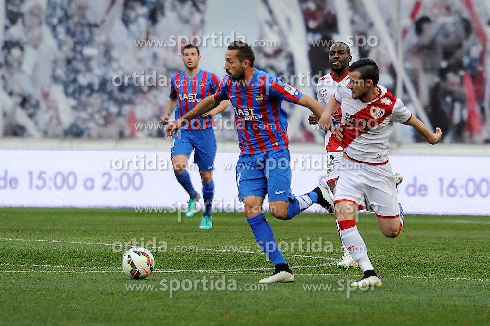 28.02.2015, Campo de Futbol, Madrid, ESP, Primera Division, Rayo Vallecano vs Levante UD, 25. Runde, im Bild Rayo Vallecano&acute;s Tito and Levante UD&acute;s Jose Luis Morales Nogales // during the Spanish Primera Division 25th round match between Rayo Vallecano and Levante UD at the Campo de Futbol in Madrid, Spain on 2015/02/28. EXPA Pictures &copy; 2015, PhotoCredit: EXPA/ Alterphotos/ Luis Fernandez<br /> <br /> *****ATTENTION - OUT of ESP, SUI*****