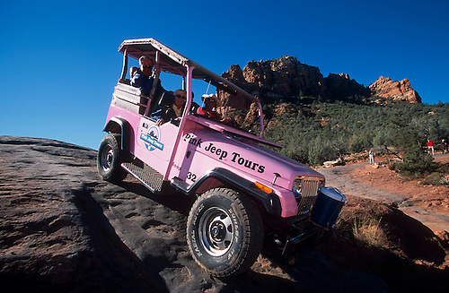 Pink Jeep Tour Of Red Rock Country Includes Steep Trails, Sedona, Arizona.
