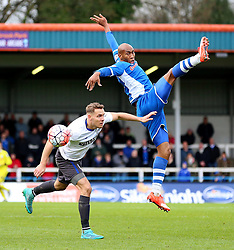 Calvin Andrew of Rochdale challenges for a header with Chris Hussey of Bury - Mandatory byline: Matt McNulty/JMP - 06/12/2015 - Football - Spotland Stadium - Rochdale, England - Rochdale v Bury - FA Cup