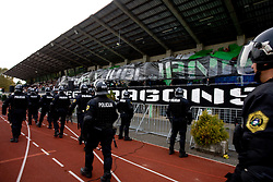 Police and Green Dragons, fans of Olimpija at 13th Round of Prva Liga football match between NK Olimpija and Maribor, on October 17, 2009, in ZAK Stadium, Ljubljana. Maribor won 1:0. (Photo by Vid Ponikvar / Sportida)
