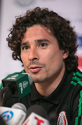 May 25, 2018 - Los Angeles, California, U.S - Goalie, Guillermo Ochoa of Mexico's World Cup squad responds to questions from journalists during Mexico Media Day on Friday May 25, 2018 in Beverly Hills, California ahead a pre-World Cup soccer friendly against Wales in Pasadena on May 28. (Credit Image: © Prensa Internacional via ZUMA Wire)