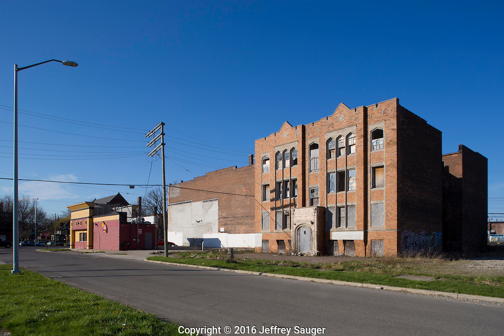 The Marlborough Building on Jefferson Avenue in the Jefferson-Chalmers Historic Business District and neighborhood in Detroit, Michigan, Wednesday, April 20, 2016. <br /> <br /> On September 7, 2016, The National Trust for Historic Preservation gave the Jefferson-Chalmers neighborhood in Detroit&rsquo;s lower east side the distinction of a National Treasure. This is the first in the state of Michigan and the first project under the National Trust&rsquo;s ReUrbanism initiative. (Photo by Jeffrey Sauger )