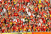 11 October 2008: Student fan section during the NCAA Pac-10 USC Trojans 28-0 shut-out win over the Arizona State University Sun Devils during a day college football game at the Los Angeles Memorial Coliseum in Southern California.