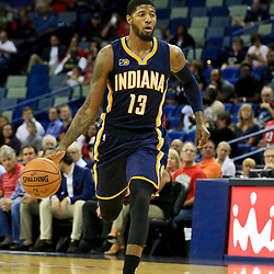 Oct 4, 2016; New Orleans, LA, USA;  Indiana Pacers forward Paul George (13) against the New Orleans Pelicans during the first quarter of a game at the Smoothie King Center. Mandatory Credit: Derick E. Hingle-USA TODAY Sports