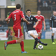 Dundee's Paul McGinn and Aberdeen&rsquo;s Andrew Considine -  Dundee v Aberdeen, William Hill Scottish FA Cup 4th round at Dens Park<br /> <br />  - &copy; David Young - www.davidyoungphoto.co.uk - email: davidyoungphoto@gmail.com