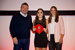 NEWPORT, WALES - Saturday, May 19, 2018: Lucia Molinari is presented with her Under-16's cap by Osian Roberts (left) and Lauren Dykes (right) during the Football Association of Wales Under-16's Caps Presentation at the Celtic Manor Resort. (Pic by David Rawcliffe/Propaganda)