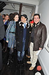 Left to right, MOLLIE DENT-BROCKLEHURST, RAQIB SHAW and CAMERON AMIN at a private view of art works by Annie Morris entitled 'There is A Land Called Loss' held at Pertwee Anderson & Gold Gallery, 15 Bateman Street, London W1 on 2nd February 2012.