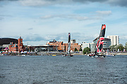 Emirates Team New Zealand wins race seven, day one of the Cardiff Extreme Sailing Series Regatta. 22/8/2014