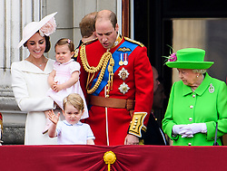 © Licensed to London News Pictures. 11/06/2016. London, UK. CATHERINE, DUCHESS OF CAMBRIDGE, PRINCESS CHARLOTTE, PRINCE GEORGE, PRINCE WILLAM and QUEEN ELIZABETH IIon the balcony of Buckingham Palace, during the Trooping The Colour ceremony in London. This years event is part of a weekend of celebration to mark the 90th birthday of Queen Elizabeth II, who is Britain's longest reigning monarch. Photo credit: Ben Cawthra/LNP