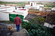 A man walks his dog in Espera, Spain.